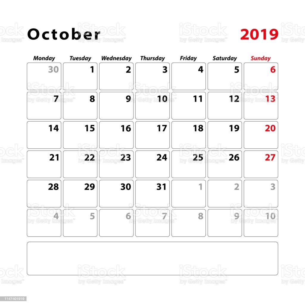 Octobre Calendrier 2019.Calendrier 2019 Octobre Debut Lundi Vecteurs Libres De