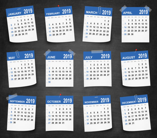 Kalender-2019 an Tafel - Tafel – Vektorgrafik
