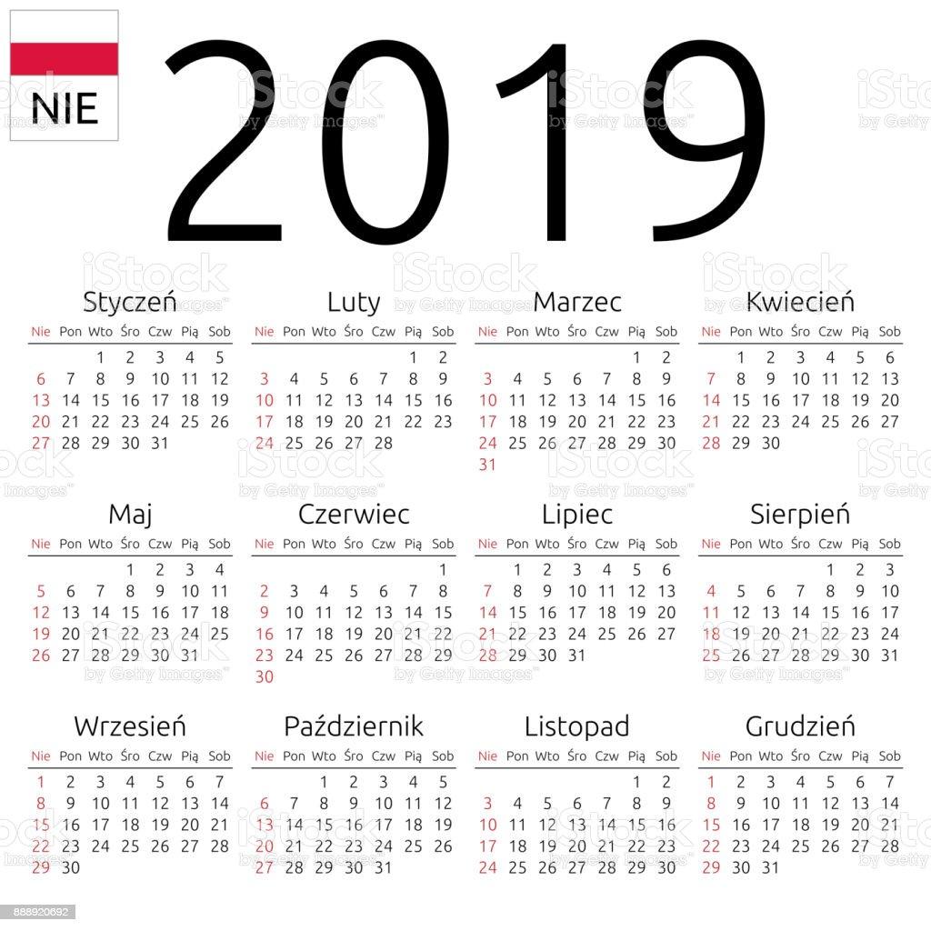Calendar 2019 Polish Sunday Royalty Free Stock Vector Art