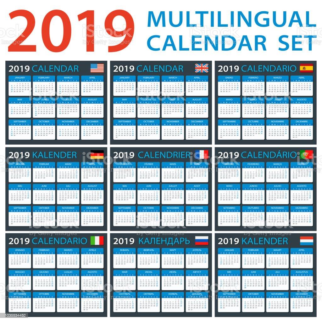 Ilustracion De Calendario 2019 Juego Ingles Americano Espanol Aleman