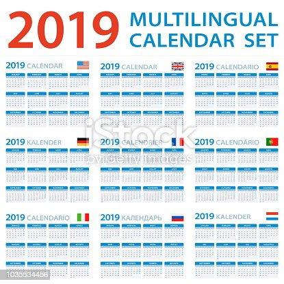 Istock Calendario 2019 Multilingue Del Sistema Ingles Europeo