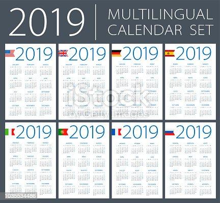 Istock Calendario Vertical 2019 En Espanol La Semana Comienza En El