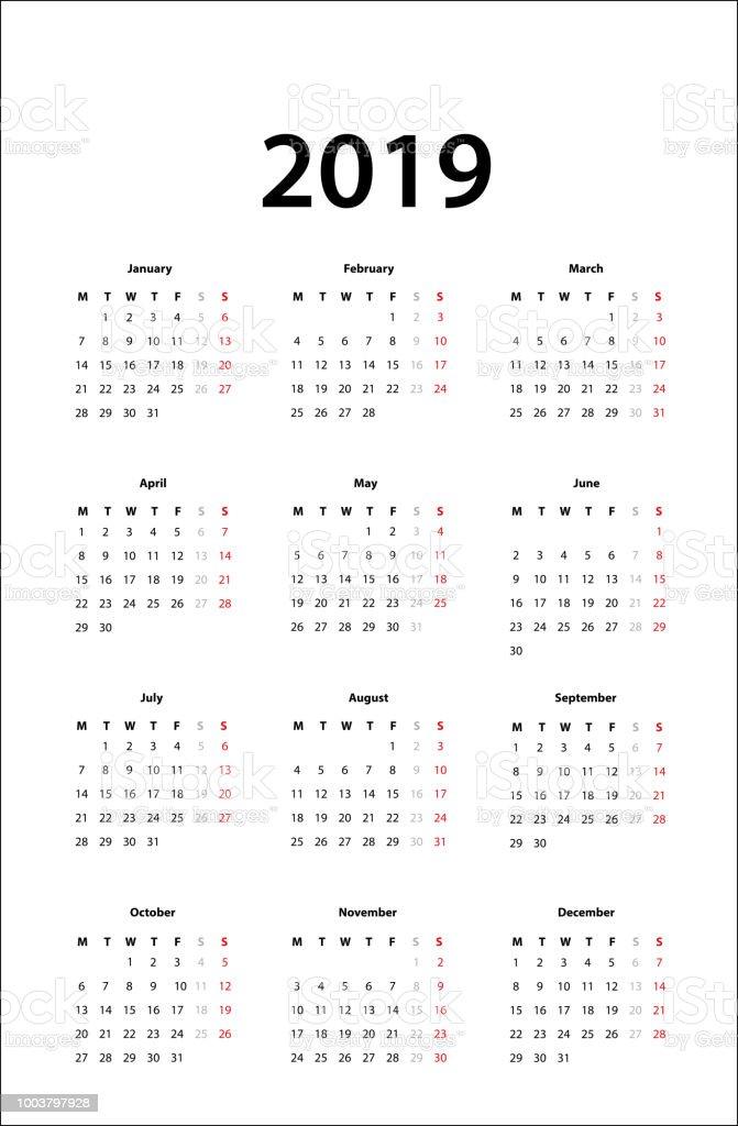 calendar 2019 simple calendar template for 2019 stock