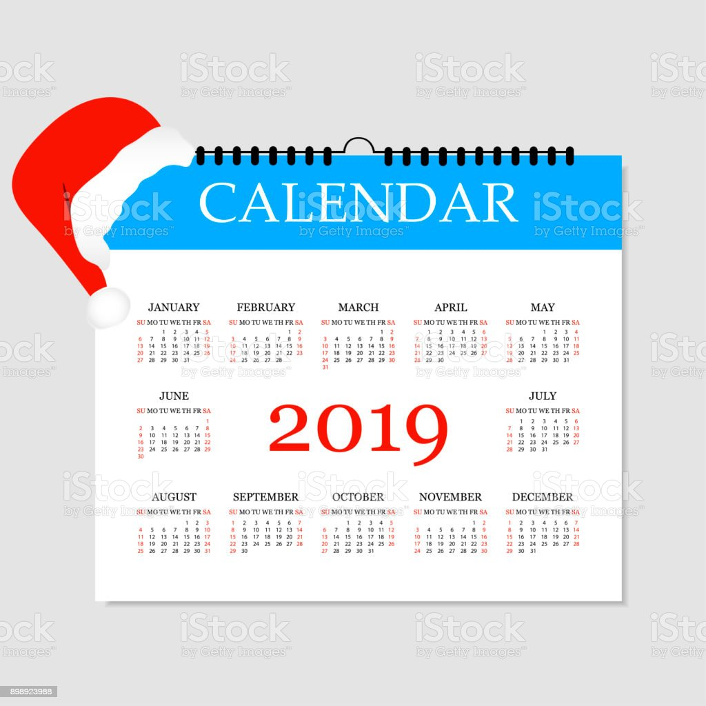 Calendar 2019 Simple Calendar Template For Year 2019 Tearoff ...