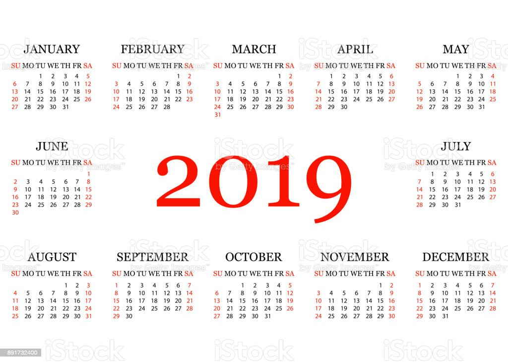 calendar 2019 simple calendar template for year 2019 white background vector illustration royalty