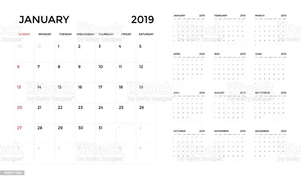 2019 カレンダー テンプレートです。計画のカレンダー週。 ベクターアートイラスト