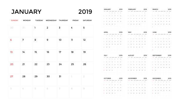 kalender-2019 vorlage. planung kalenderwoche. - monatskalender stock-grafiken, -clipart, -cartoons und -symbole