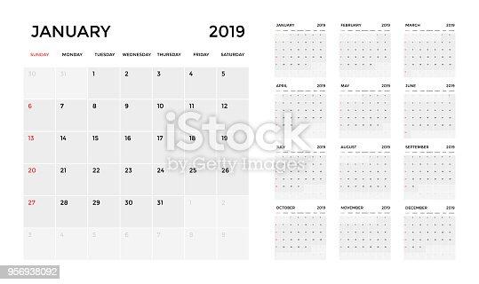 kalender 2019 mall planering kalendervecka vektorgrafik. Black Bedroom Furniture Sets. Home Design Ideas