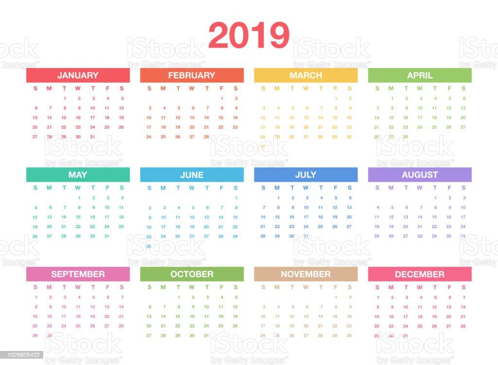 kalender2019 vorlage bunte kalenderdesign f r planer oder. Black Bedroom Furniture Sets. Home Design Ideas