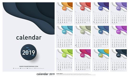 Calendar 2019 Trendy Gradients Origami Style. Set of 12 pages desk calendar. Vector design printing template