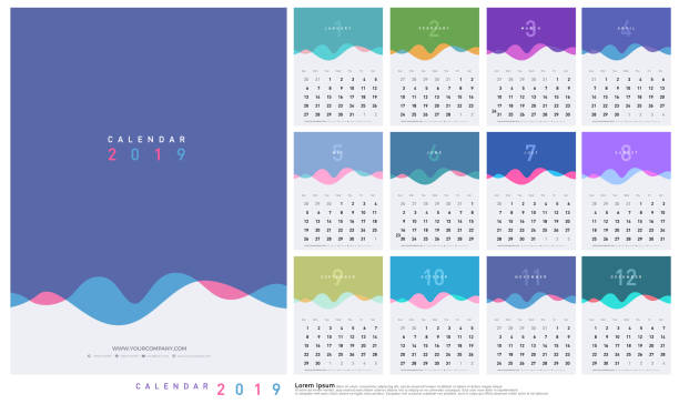 calendar 2019 trendy gradients wave with pastel color style. set of 12 pages desk calendar. vector design printing template - abstract calendar stock illustrations, clip art, cartoons, & icons