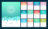 Calendar 2019 Trendy Gradients With Pastel Color Style. Set of 12 pages desk calendar. Vector design printing template