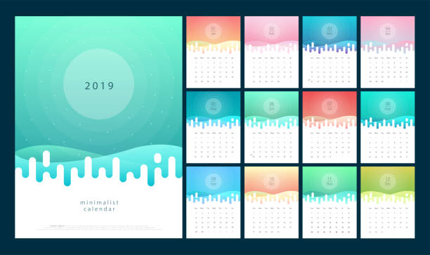 calendar 2019 trendy gradients with pastel color style. set of 12 pages desk calendar. vector design printing template - abstract calendar stock illustrations, clip art, cartoons, & icons
