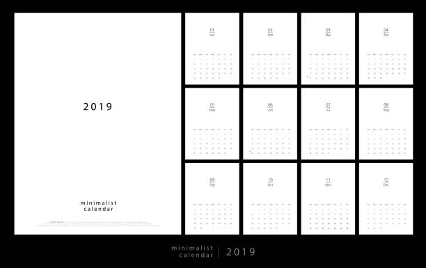 calendar 2019 trendy minimalist style. set of 12 pages desk calendar. minimal calendar planing vector design for printing template - calendars templates stock illustrations