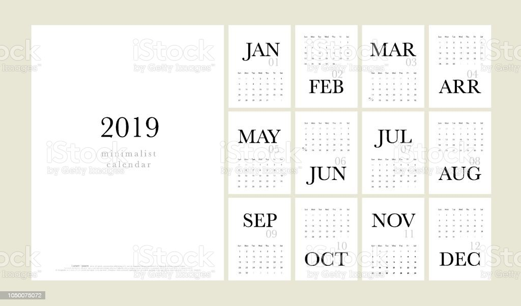 Calendario 2019 Moderno.Ilustracion De Calendario 2019 Moderno Estilo Minimalista