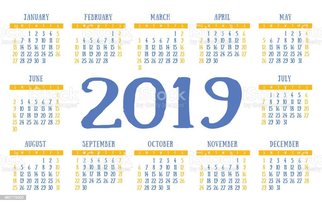 calendar 2019 vector basic grid cute design template stock vector