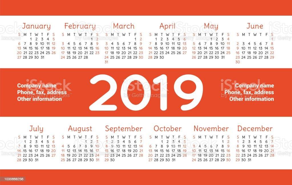 Template Calendrier 2019.Calendar 2019 Vector Basic Grid Simple Design Template