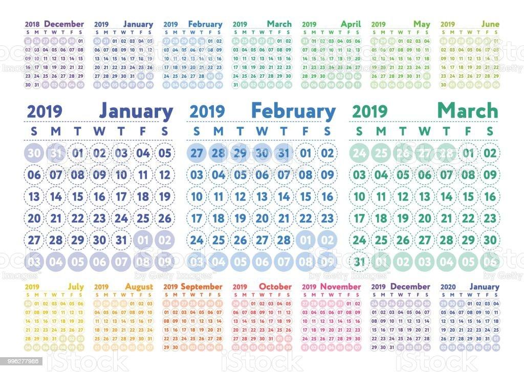 February- June Calendar 2019 Calendar 2019 Vector Color English Calender January February March