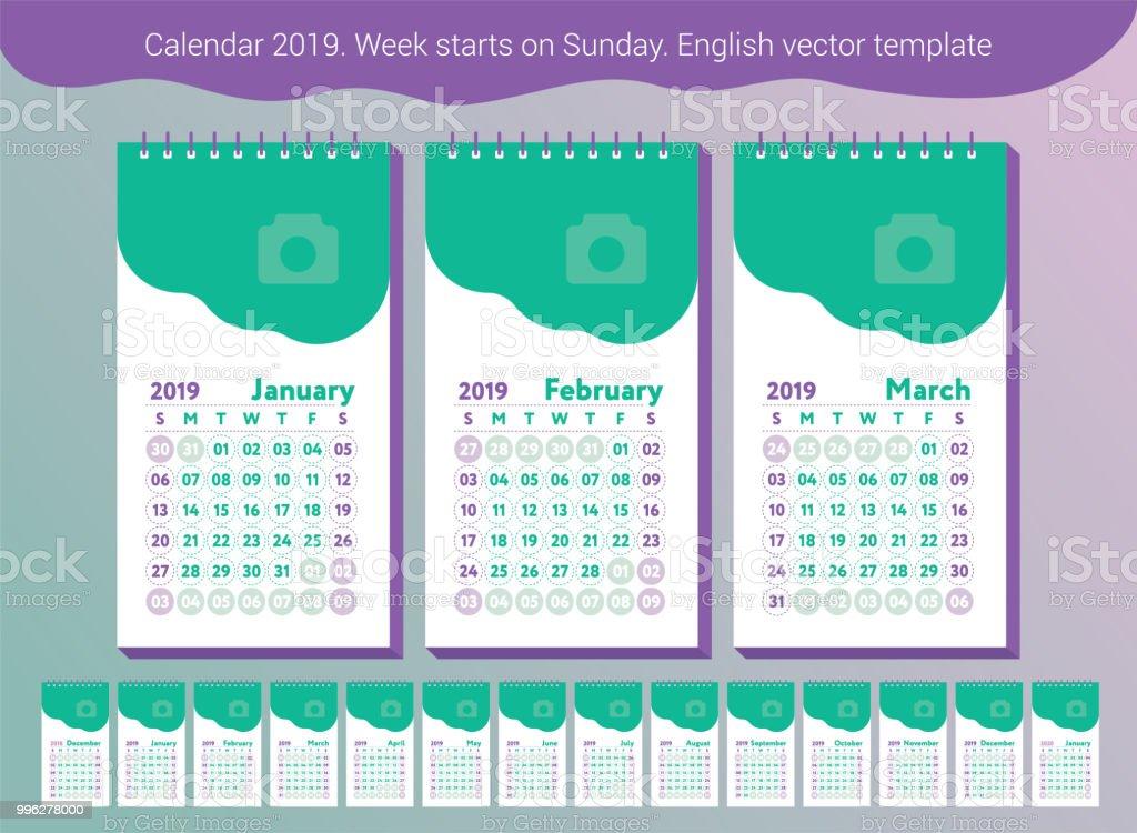 Calendario 2019 Julio Agosto Y Septiembre.Ilustracion De Calendario 2019 Calendario Ingles De Vector Enero Febrero Marzo Abril Mayo Junio Julio Agosto Septiembre Octubre Noviembre Diciembre La