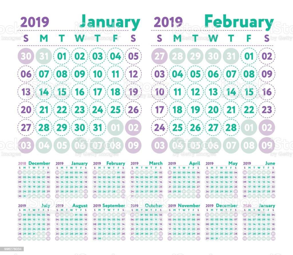 Calendrier Avril Mai Juin 2019.Calendrier 2019 Calendrier Anglais Vecteur Janvier Fevrier