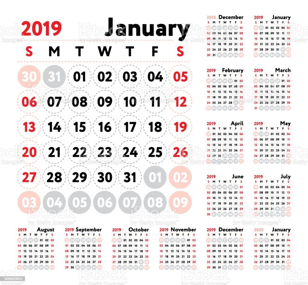 Calendar 2019 Vector English Calender January February March April