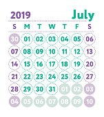 Calendar 2019 Year Pocket Square Calender Ready Design Red And Blue