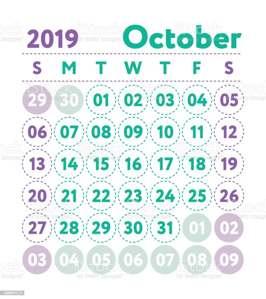 Calendar 2019 Vector English Calender October Month Week Starts On ...