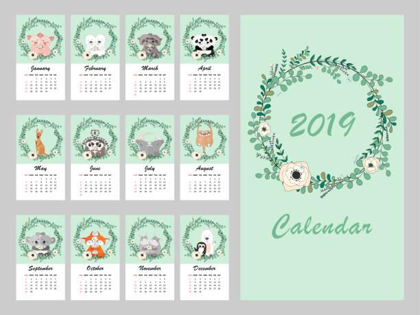 ilustraciones, imágenes clip art, dibujos animados e iconos de stock de calendario 2019. guirnalda de eucalipto y flor de vector. mano dibujado vector ilustración con lindos animales en flores - calendario de flores