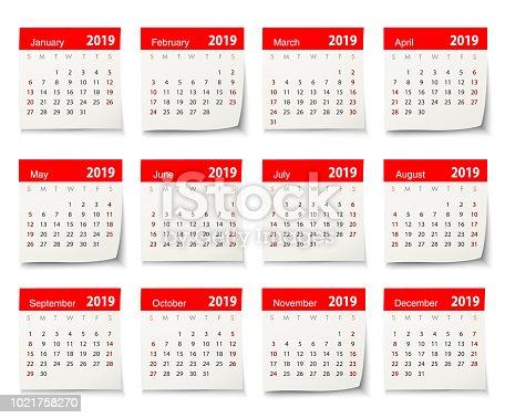 Vector calendar 2019