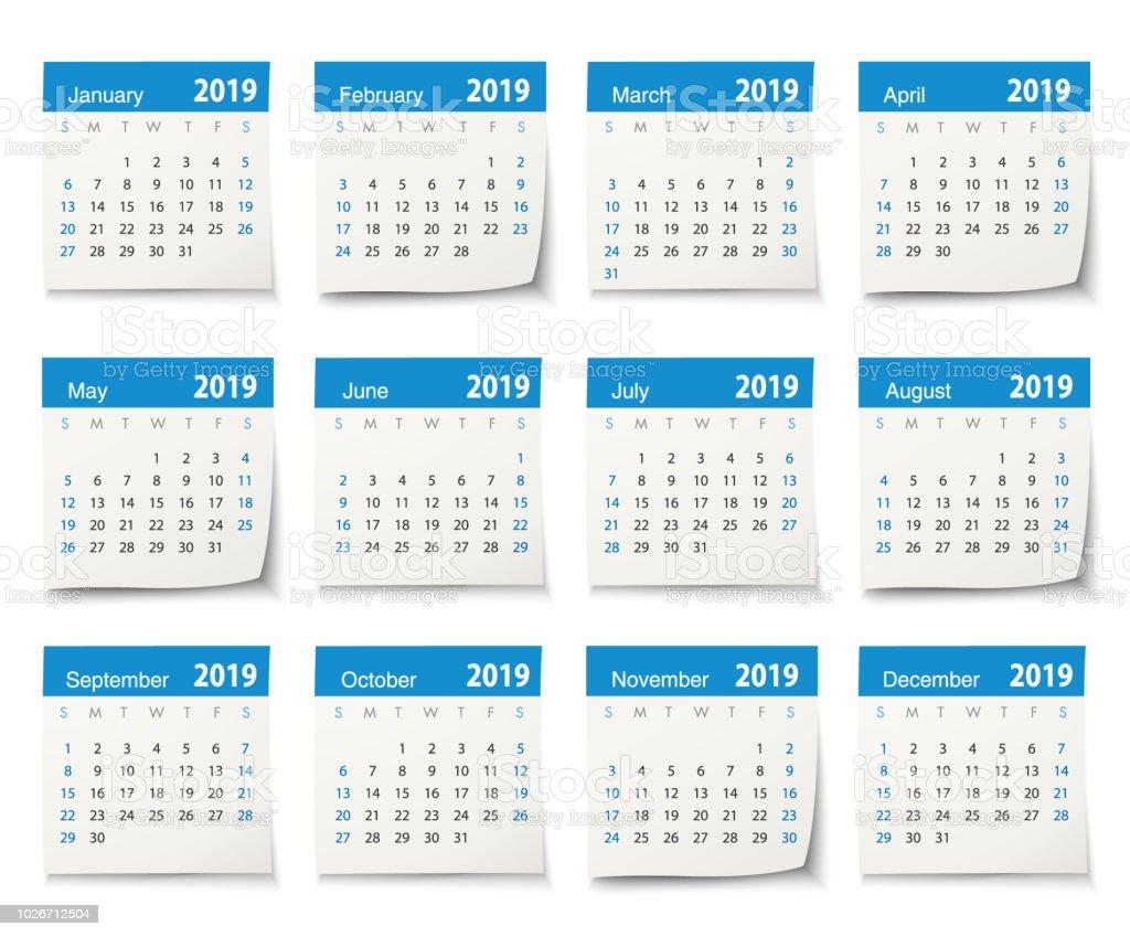 Calendar 2019 vector art illustration