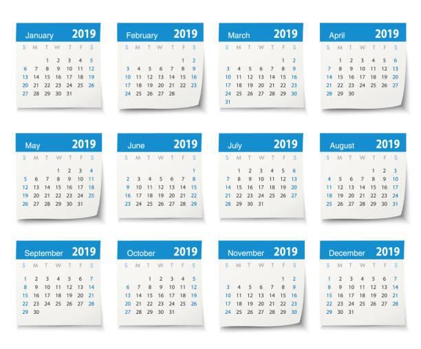 calendar 2019 - calendar stock illustrations, clip art, cartoons, & icons