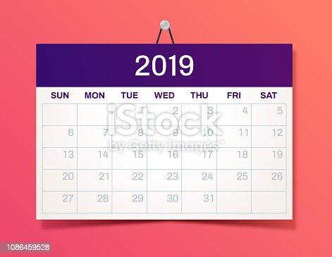 New Year hanging 2019 Calendar
