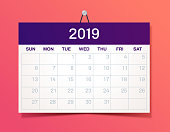New Year hanging 2019 Calendar
