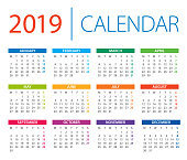 Calendar 2019 - vector illustration. Days start from Monday