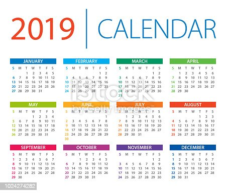 Calendar 2019 - vector illustration. Days start from Sunday