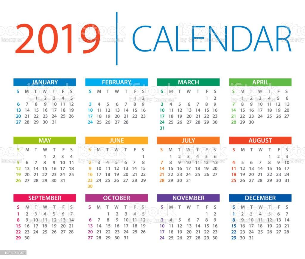 Calendar 2019 - vector illustration. Days start from Sunday vector art illustration