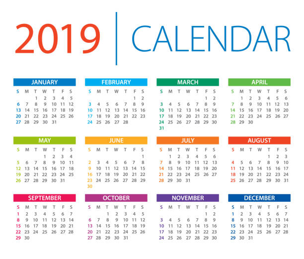 ilustrações, clipart, desenhos animados e ícones de calendário 2019 - ilustração vetorial. início de dias de domingo - 2019