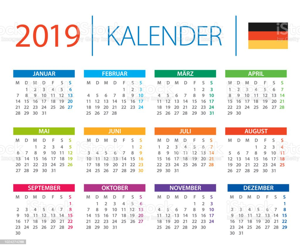 kalender2019 vektorillustration deutsche sprachversion. Black Bedroom Furniture Sets. Home Design Ideas