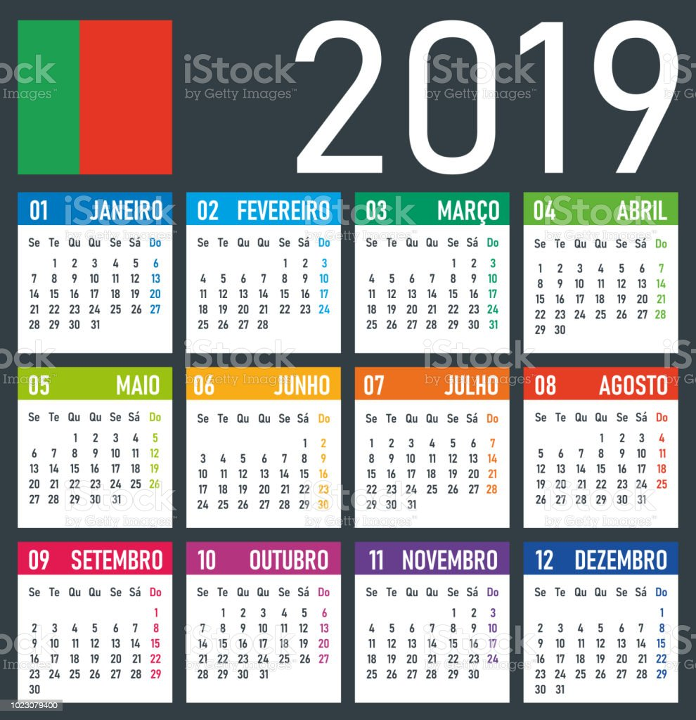 Calendrier 2019 Vectoriel.Calendrier 2019 Illustration Vectorielle Version Portugaise Vecteurs Libres De Droits Et Plus D Images Vectorielles De 2019