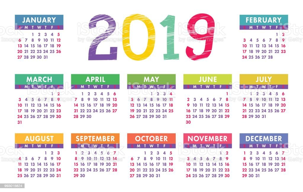 Calendario 2019 English.Calendar 2019 Vector Template English Calender Colorful Set