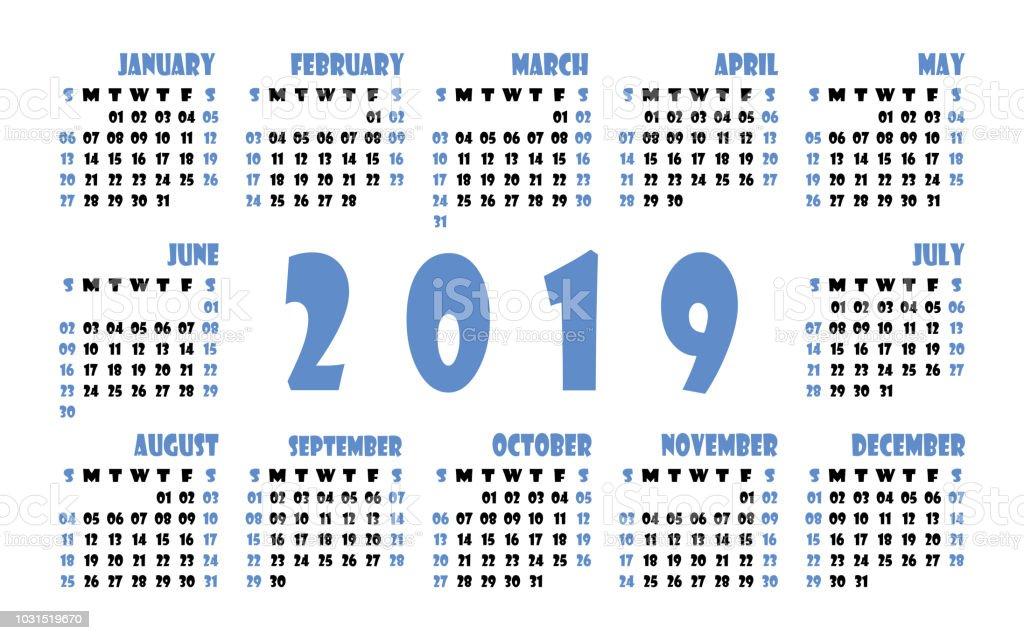Calendario 2019 Con Numero Week.Calendar 2019 Vector Template English Calender Week Starts