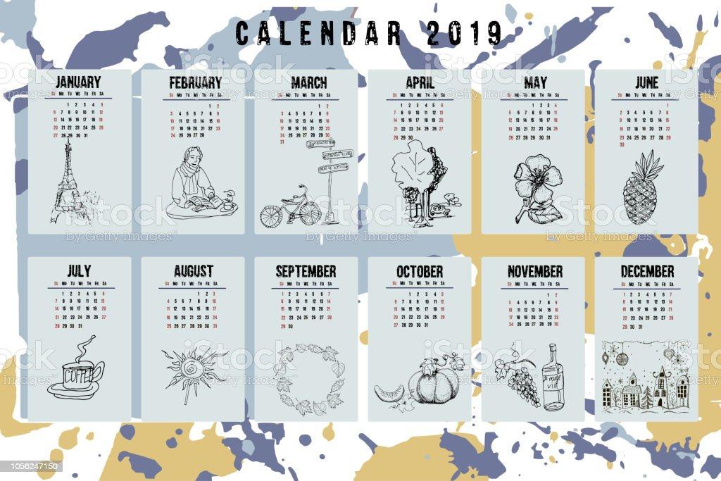 カレンダーの 2019 年。ベクトル テンプレート。週は日曜日に開始します。抽象的な手描きの背景。 ベクターアートイラスト