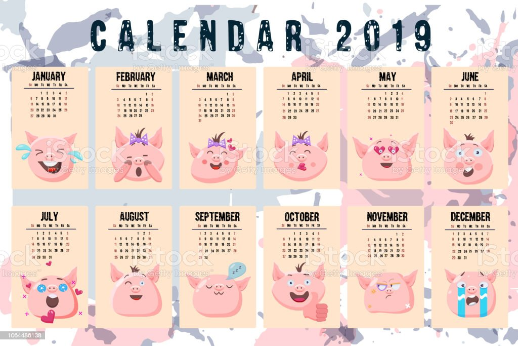 Emoji Del Calendario.Vetores De Calendario 2019 Modelo De Vetor Semana Comeca No