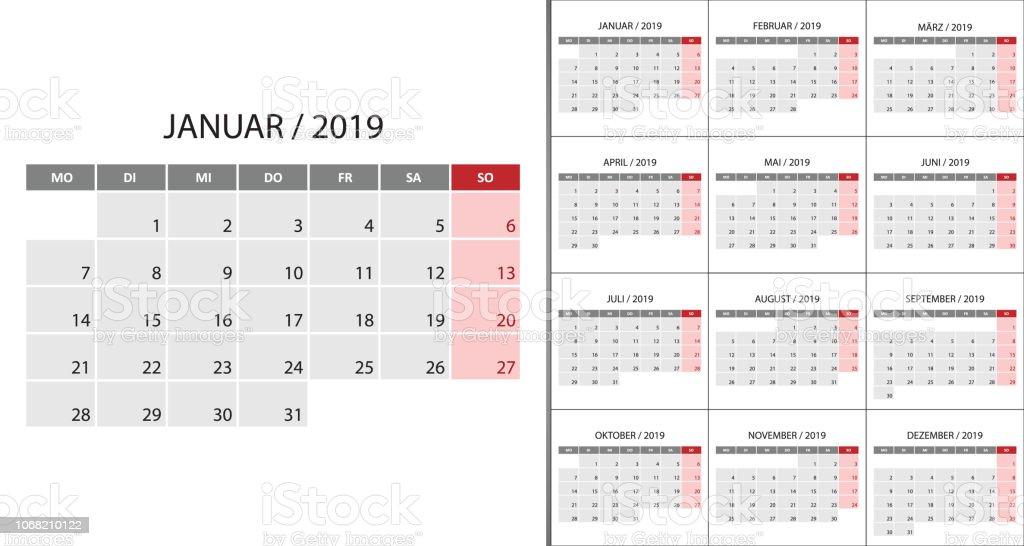 Semana Calendario.Ilustracion De Inicio De Semana Calendario 2019 El Lunes Y Mas