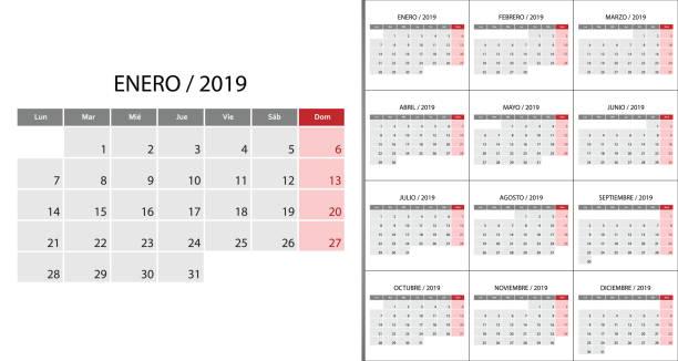 kalender-2019 wochenstart am montag - tischkalender stock-grafiken, -clipart, -cartoons und -symbole