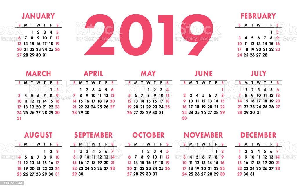 Calendario 2019 Week Number.Calendar 2019 Week Starts On Sunday Simple Ready Design