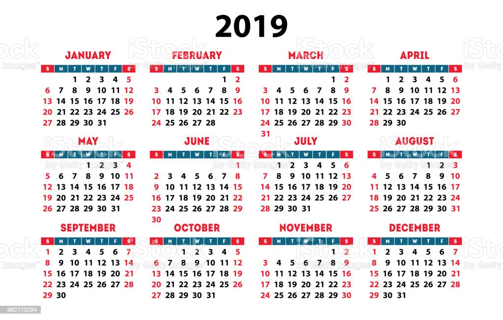 kalender 2019 week begint op zondag eenvoudige klaar. Black Bedroom Furniture Sets. Home Design Ideas