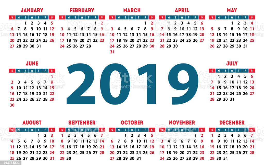 Calendario 2019 Con Numero Week.Calendar 2019 Week Starts On Sunday Simple Ready Design