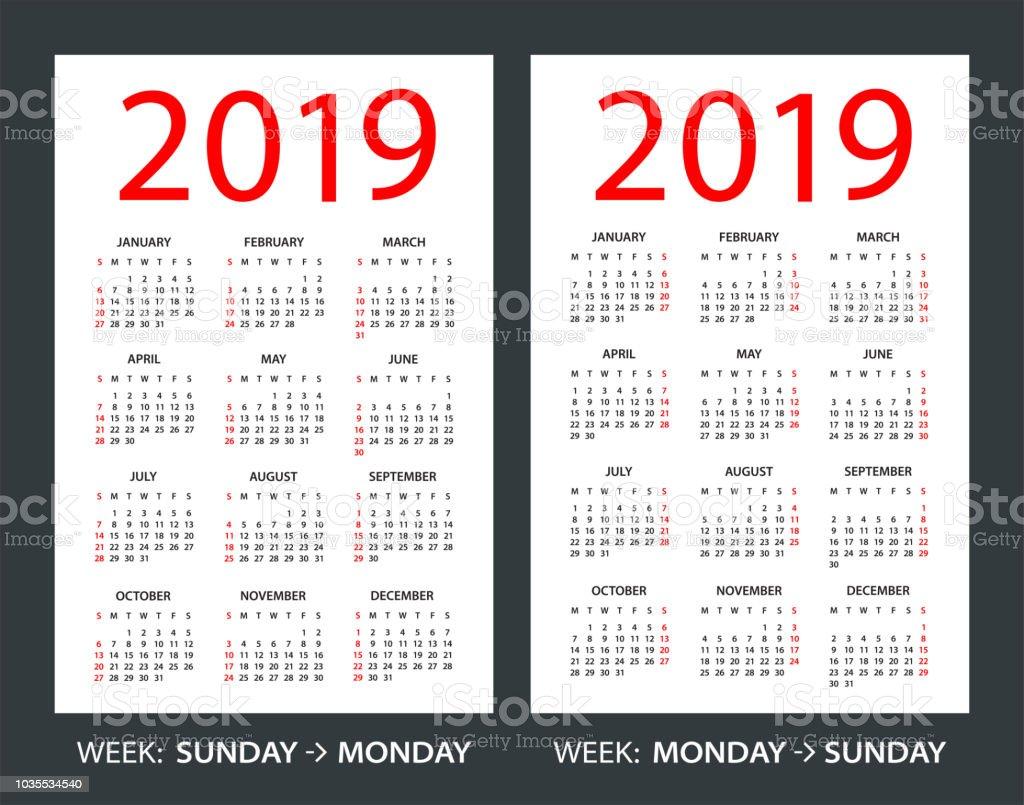 kalender 2019 veckan b rjar p s ndag vecka startar p. Black Bedroom Furniture Sets. Home Design Ideas