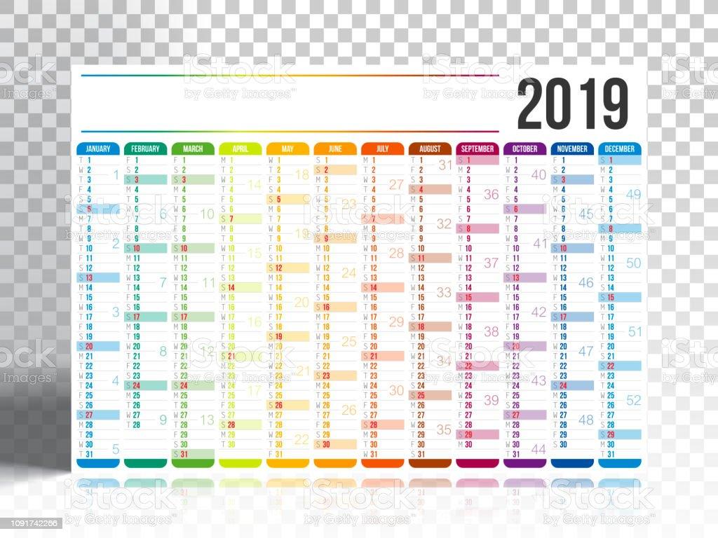 Calendario F2.Calendar 2019 With Blank Backgorund Stock Illustration